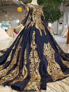 Image 4 - Navy Blue Long Sleeves Ball Gowns Wedding Dresses 2020 Arabic Muslim African Black Skin Gold Lace Vintage for Bridal Women Wear