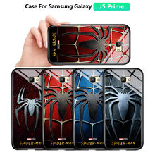 Untuk Samsung Galaxy J5 Prime ON5 2016 Marvel Spiderman Spider Logo Case Tahan Guncangan Lembut Kaca Tempered Back Cover Casing(China)