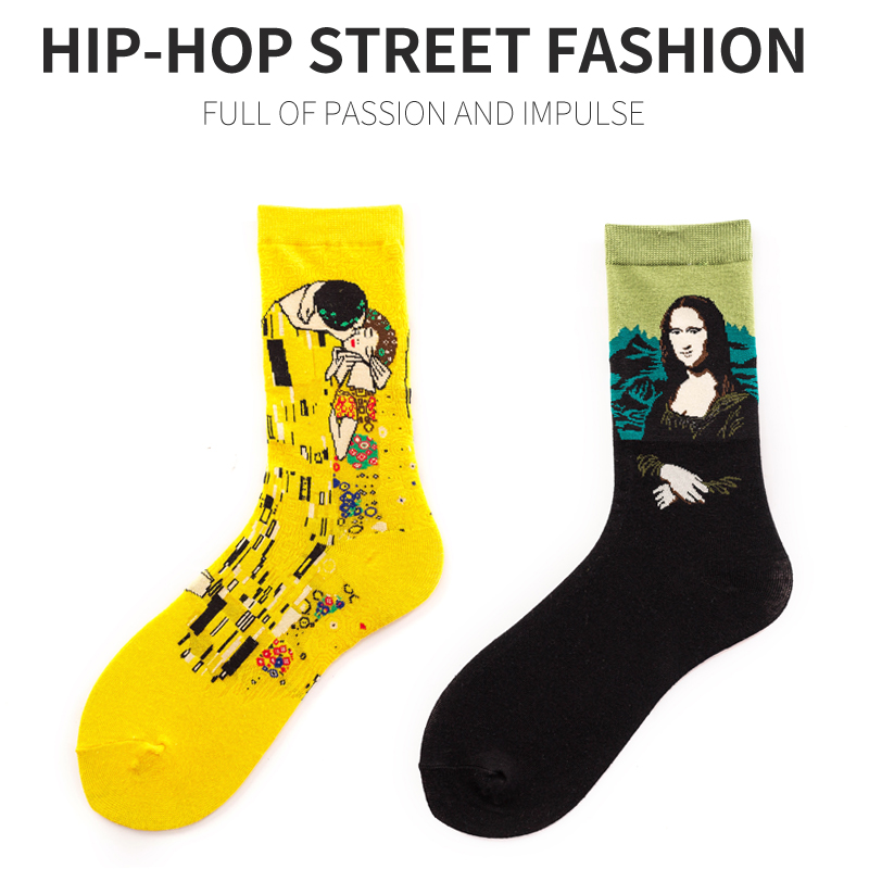 Fashion Harajuku  Happy Male Cotton Long Socks Men Women Klimt Painting Strawberry Quality Funny Streetwear Van Gogh Socks Crazy