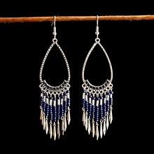 Bohemian Long Tassel Acrylic Beaded Pendant Earrings Wedding Party Water Drop Shape Charm Jewelry Earrings bohemian beaded tassel drop earrings