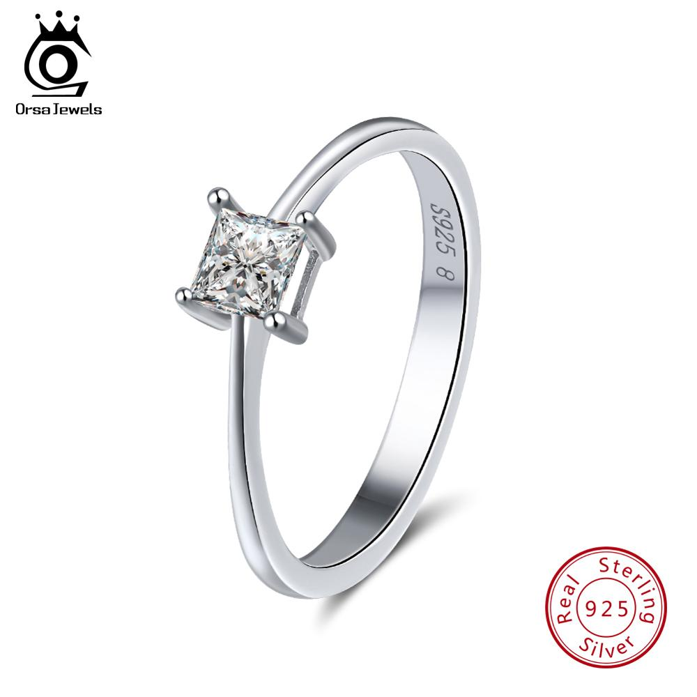ORSA JEWELS Classic Women Rings Square Cut AAA Shiny Cubic Zircon 925 Sterling Silver Wedding Ring Jewelry For Female SR57