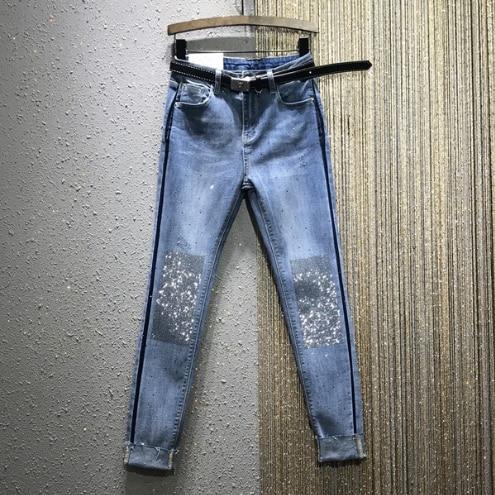 Jeans Woman European Goods 2020 Spring New High-Waist Slim-Fit Stretch Hot Drilling Denim Pencil Pants Women's Jeans Ladies