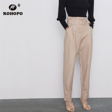 купить ROHOPO Khaki Belted Side Pockets Pencil Pant Ladies Solid Full Length Buttom Trousers #1282 дешево