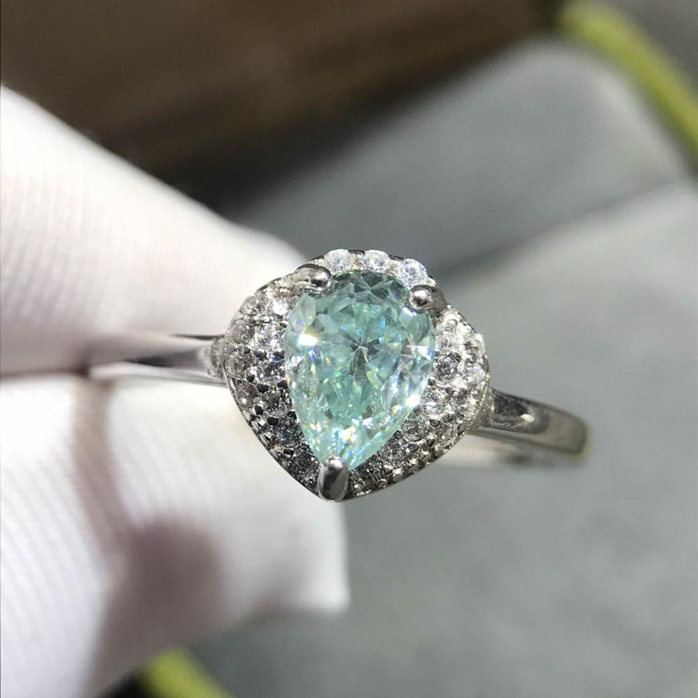 Nouveauté excellente qualité goutte d'eau Moissanite bague argent 925 Original diamant Test passé 5*7mm saphir anneaux de mariage
