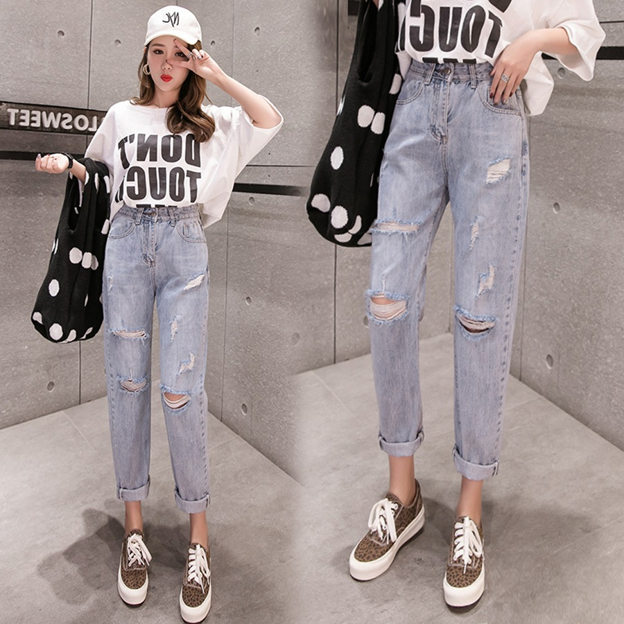 Fashion Casual Light Blue Straight-Cut Jeans Women's 2019 Spring New Style With Holes High-waisted Slimming Dad Pants Capri Pant