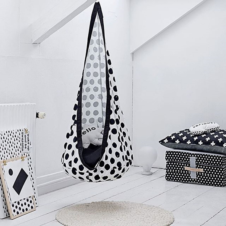 Black And White Dot Design Children Hammock Inflatable Cushion Garden Swing Chair Indoor Outdoor Hanging Seat Child Swing Seat