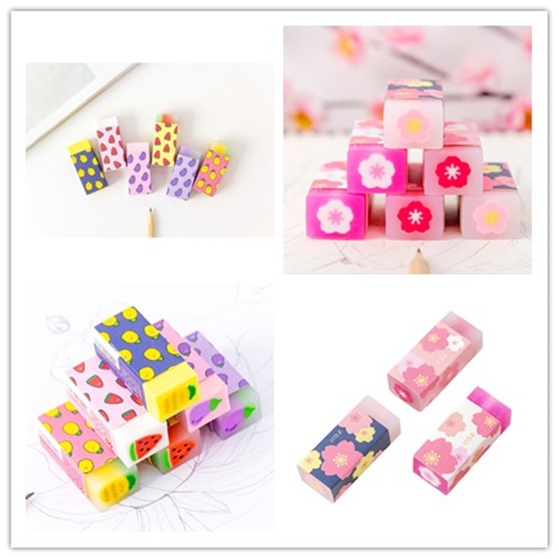 18pcs/lot Beautiful Flower Cherry Blossom With Sandwich Crystal And Fruit Cute Stationery Creative Kawaii Eraser Supplies