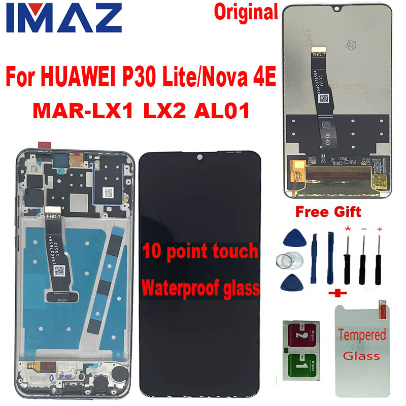 IMAZ AAA Original LCD For HUAWEI P30 Lite MAR-LX1 LX2 Lcd Display Screen For HUAWEI Nova 4E +10 Touch Screen With Frame Assembly