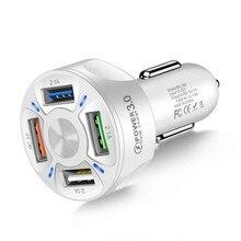 2021 nowy 4 porty 3 ładowarka samochodowa USB szybkie ładowanie 3.0 uniwersalny szybkie ładowanie w samochodzie 4 Port