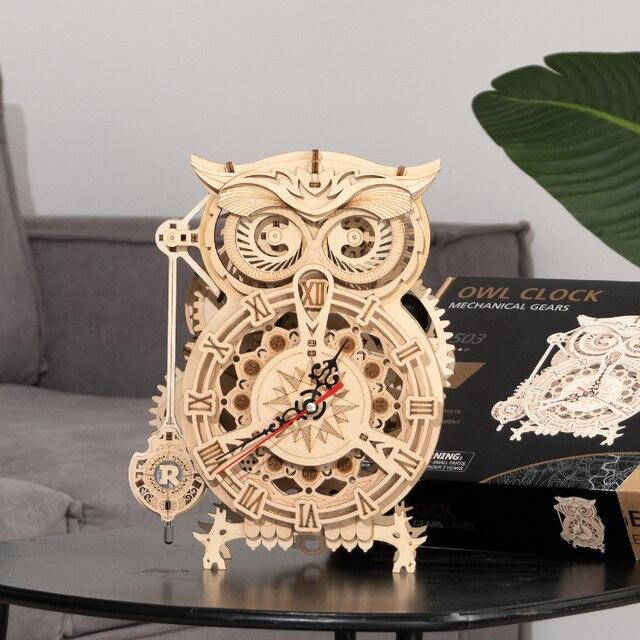 Robotime Rokr 161pcs Creative DIY 3D Owl Clock Wooden Model Building Block Kits Assembly Toy Gift for Children Adult LK503 5