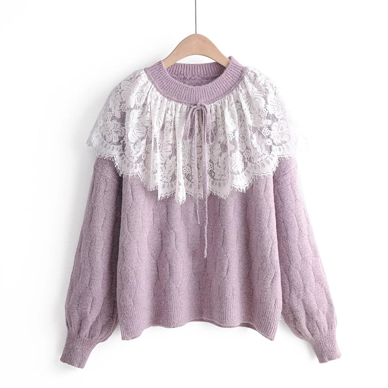 H.SA Winter New Fashion Women Lace Pullover And Sweaters Long Sleeve BOW LACE Neck Sweet Girls Outwear Cute Knit Jumpers Pull