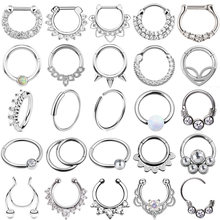 1PC Steel Opal Nose Septum Hoop Crystal Ear Helix Clicker Piercing Ear Cartilage Tragus Conch Daith Rook Piercing Nariz Jewelry(China)