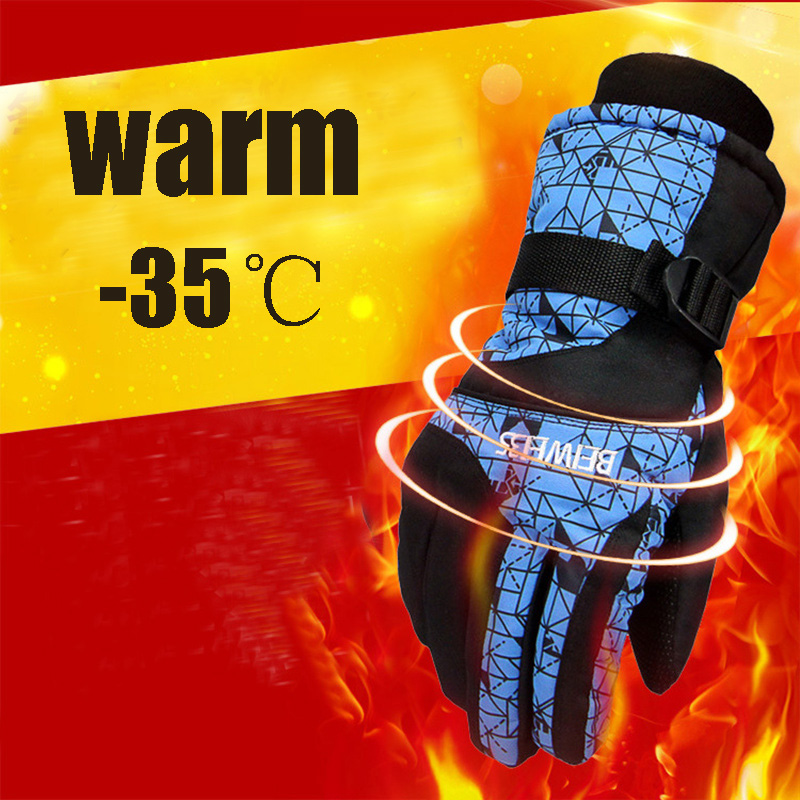 Thermal Ski Gloves Men Women Windproof Waterproof Glove Snowmobile Motorcycle Riding Heating Gloves One Size Warm Guantes Skiing