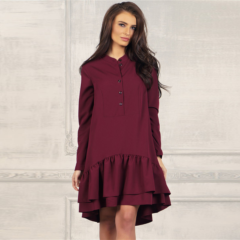 Women Casual Solid Ruffles Dress Office Ladies Stand Collar Long Sleeve A Line Elegant Party Dress 2019 Women Autumn Mini Dress