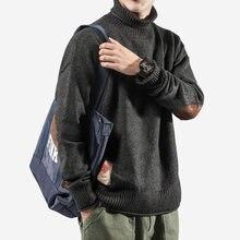 Мужской вязаный свитер утепленный пуловер топы с длинными рукавами