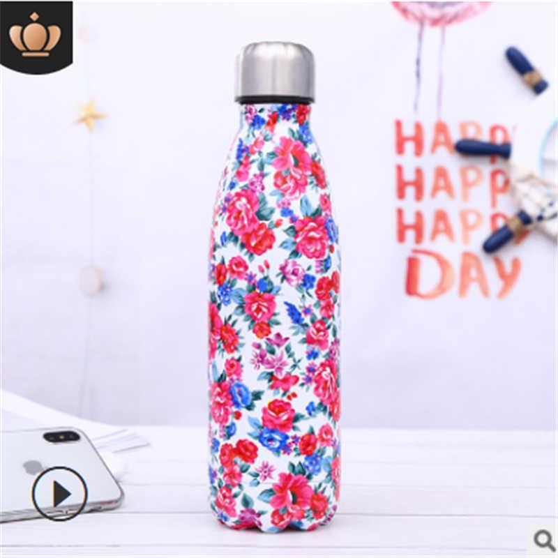500ML נירוסטה חמוד מודפס מים בקבוק ואקום מבודד בקבוק תרמי ספורט קריר כוס ספורט