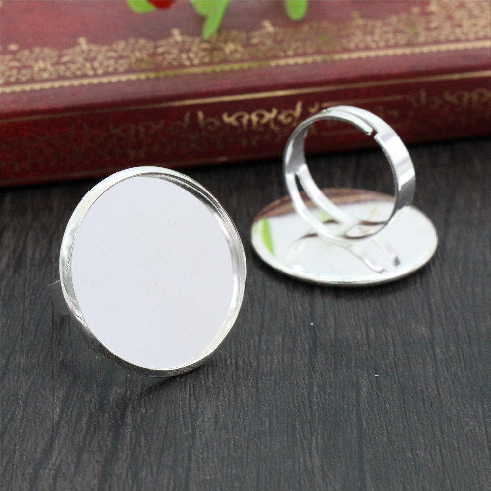 25mm 4pcs Light Silver Plated Brass Adjustable Ring Settings Blank/Base,Fit 25mm Glass Cabochons,Buttons;Ring Bezels -K2-05