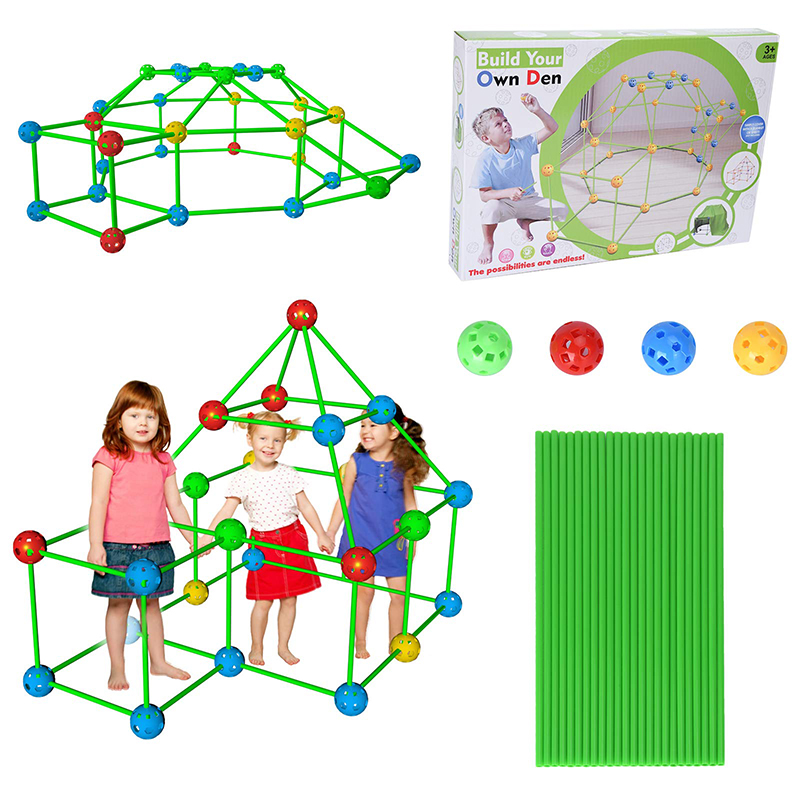 Kids Construction Fort Building Castles Tunnels Tents Kit DIY 3D Play House Building Toys for Kids Birthday Gift Building Block