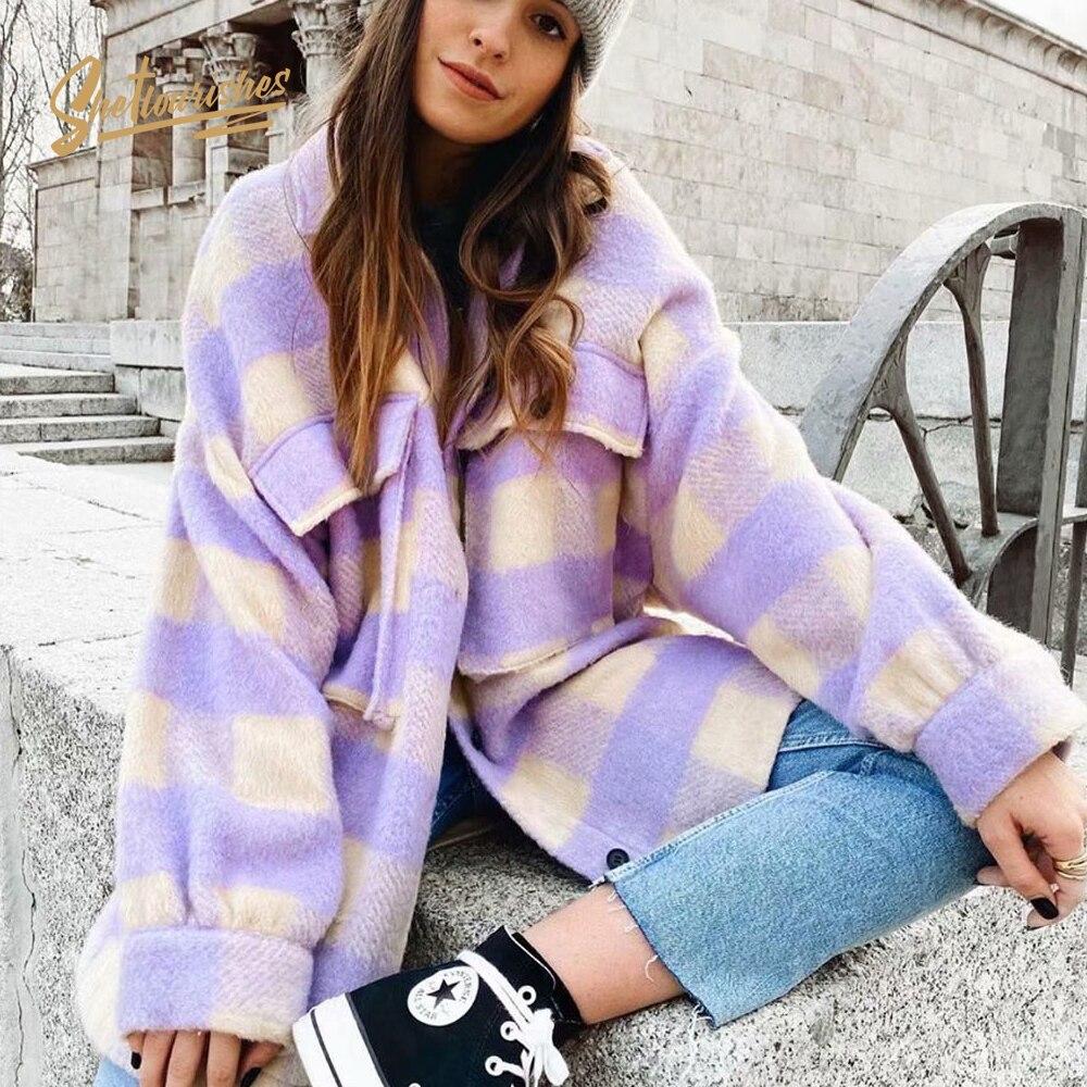 Loose-fitting Womens Purple Oversized Jacket Coat Long Sleeve Wool Winter Womens Coats And Jackets Overshirt Chaqueta Para Mujer