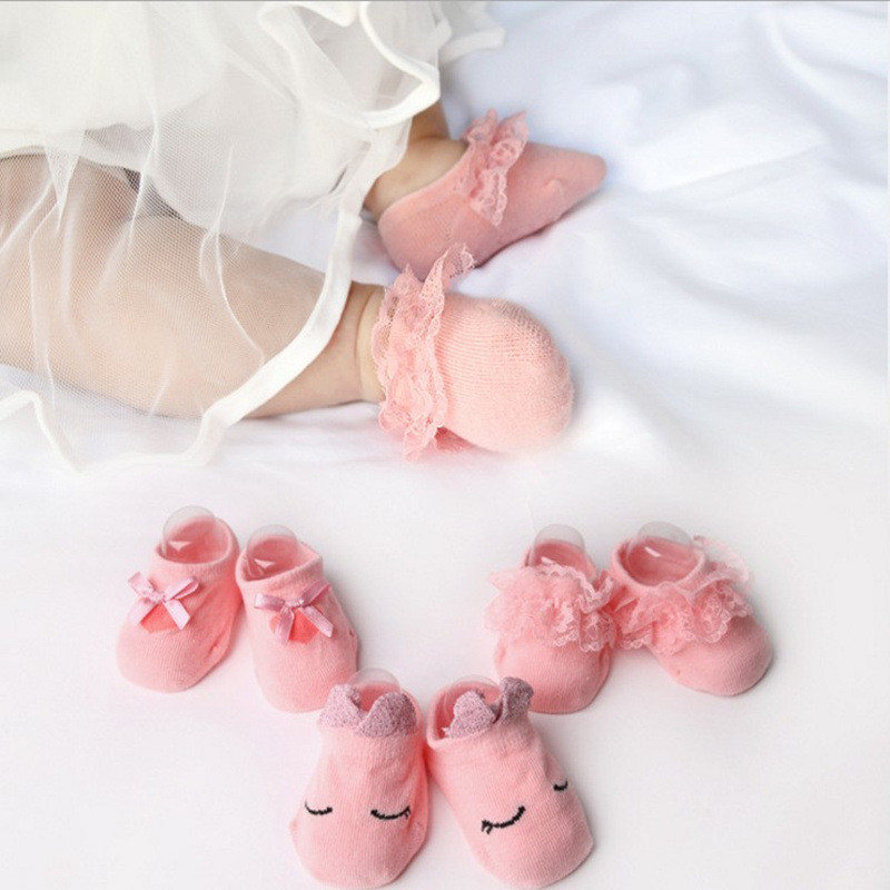 3 Pairs/Lot Lace Flower Newborn Baby Socks Cotton Anti-Slip 0-12 Months Kids Floor Socks Bow Baby Girl Socks Summer Autumn