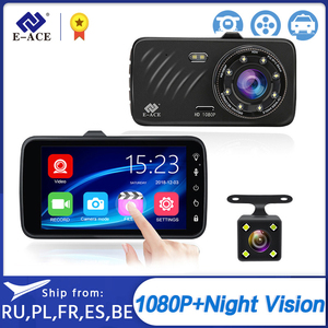 Image 1 - E ACE Car DVR 4 Inch Touch Auto Camera Dual Lens Dashcam FHD 1080P Registrator With Rear View Camera Dash Cam Video Recorder
