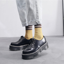 Oxford Women Shoes Motorcycle-Shoes Platform Yellow-Line Genuine-Leather Thick-Bottom