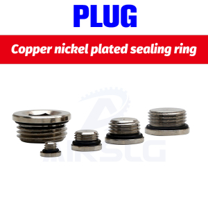 "10Pcs/lot M5 1/8 1/4"" 3/8"" 1/2"" 3/4"" copper inner hexagonal plug with sealing ring plug copper plug End Cap For Pneumatic()"