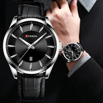 Мужские кварцевые часы с кожаным ремешком CURREN