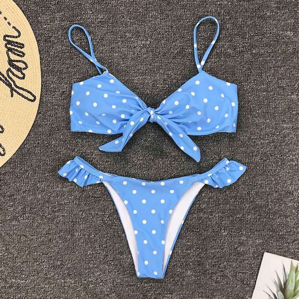 Badpak Vrouwen Dot Print Bikini Set Dames Boog Split Up Vakantie Badmode Zwemmen Bikini 2020 Mujer & Xs