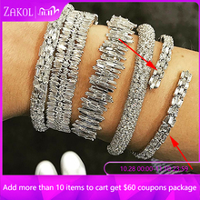 ZAKOL New Fashion AAA Cubic Zirconia Baguette Bracelet Micro Pave Setting Bangle Cuff Copper Base with Gold Color FSBP163