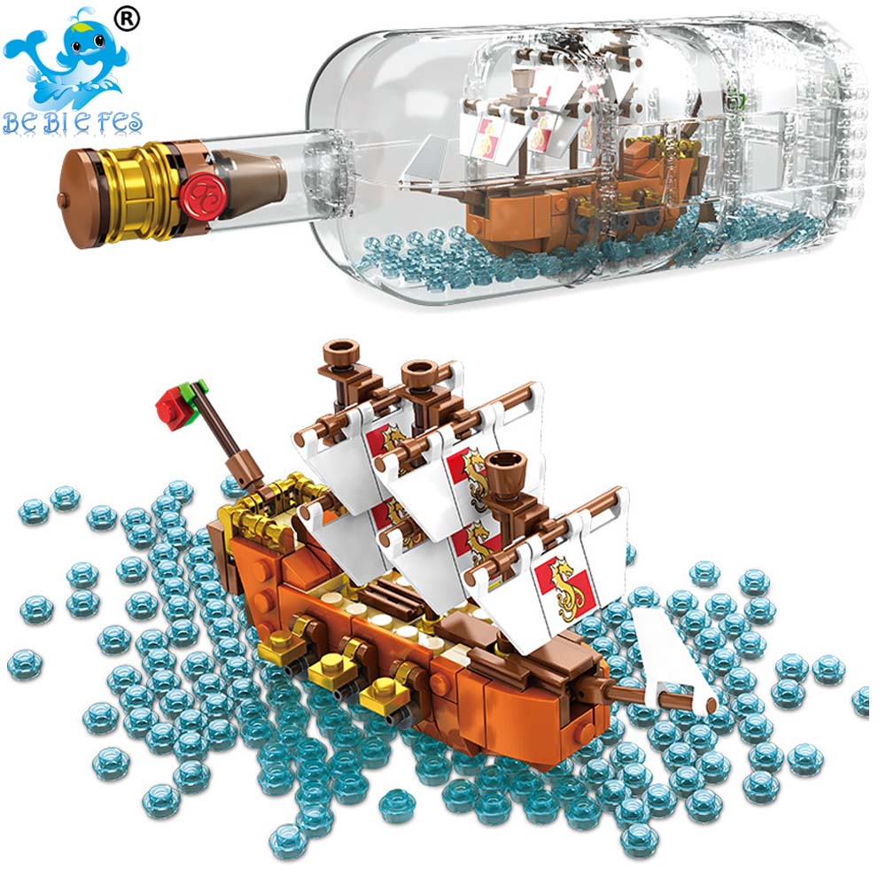 2020 IDEAS Ship Boat In A Bottle 1080Pcs Playmobil Compatible lepining Building Blocks Toys for Children ship bottle IDEAS <font><b>21313</b></font> image