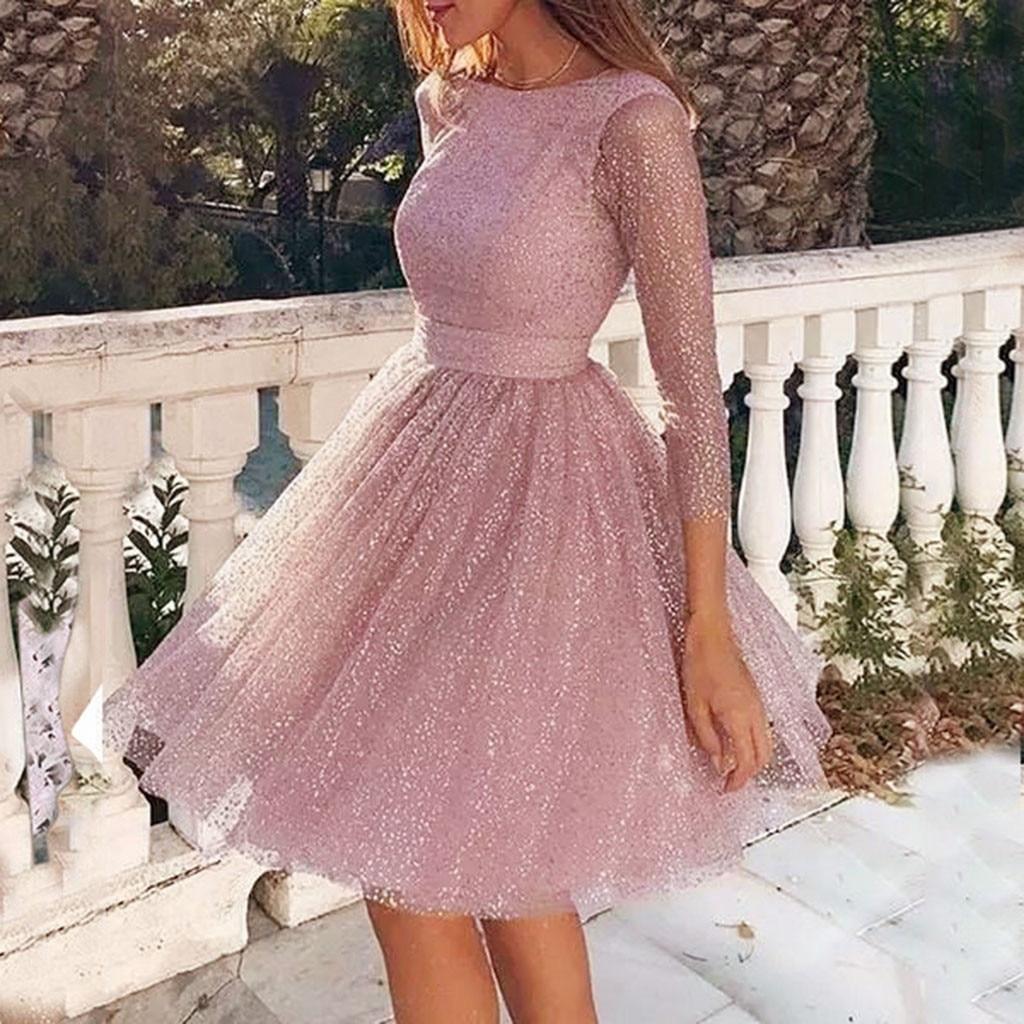 Women Pink Sequin Dress Elegant Sling Cross Wedding O-neck Elegant Party Evening Slim Hollow Lace Women Dress Long Sleeve