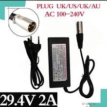 25.2vバッテリー充電器 25.9v 24v出力 29.4v 2A 3 ピンxlrオスコネクタ 7 シリーズリチウムイオン電池送料無料