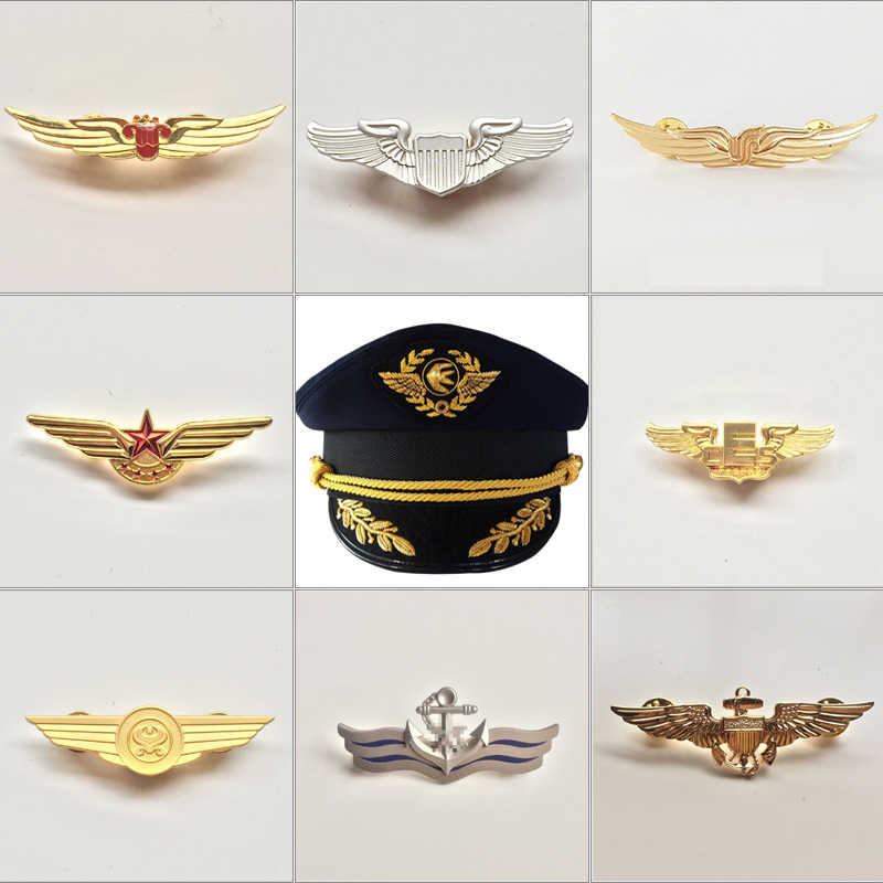 Metal Captain uniform badge pilot crew navy hat Cap badge Airlines nautical Accessories High Quality  Free Shipping