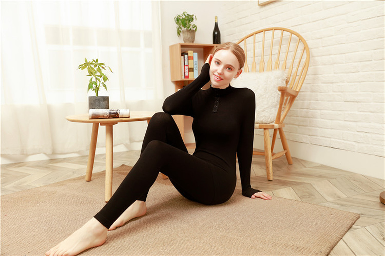 Women's Thermal Underwear Thin Section Set Winter Long John Second Skin Winter Ladies Warm Clothes Thermal Long Sleeve