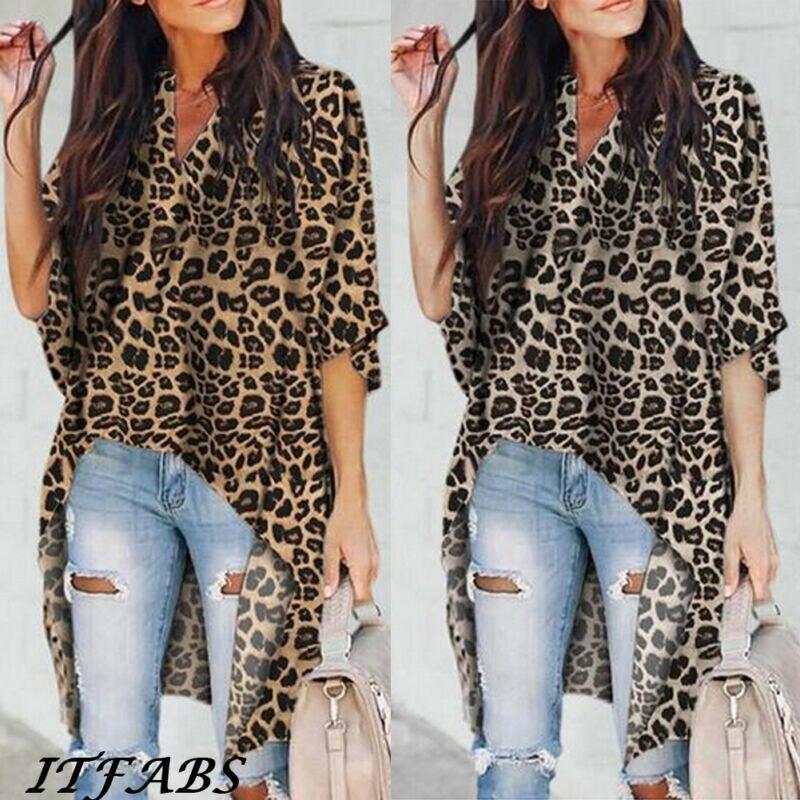 Hot Plus Size Leopard Print Blouse Women V Neck Long Sleeve Irregular Loose Shirt OL Tops Fashion Blouses