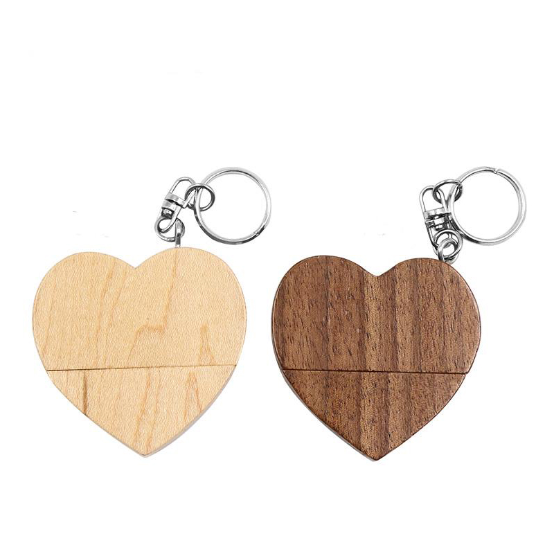 Pendrive Wooden Heart Style USB Flash Drive 2.0 64GB 32GB 16GB 4GB U Disk Photography Wedding Gifts Pen Drive 128gb