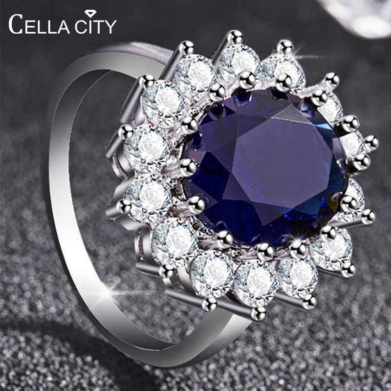 Cellacity Fashionable Round Sapphire Ring for Women Silver 925 Jewelry with Gemstone Sunflower Princess Anniversary Female Gift