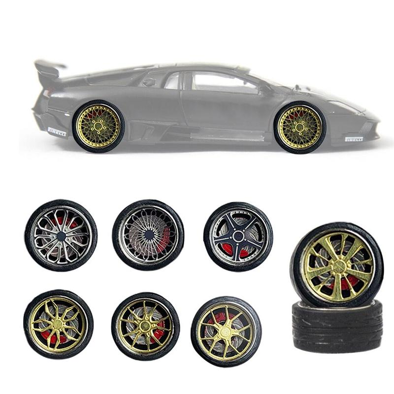 1:64 Alloy Modified Tire Vehicle Wheels Rubber Car Refit Wheels For Cars Diecasts General Model Of Car Change Wheel Toy Set