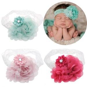 Nouveau-né bébé dentelle bandeaux infantile filles en mousseline de soie fleur bandeaux infantile enfants cheveux accessoires coiffure tête oreille Photo accessoires
