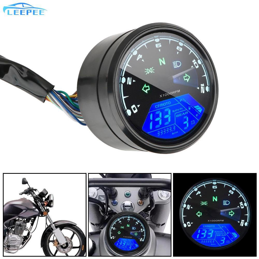 Motorbike Digital Panel Small Speedometer for Motorcycle Odometer LED Multi-function Tachometer Digital Fuel Meter Universal