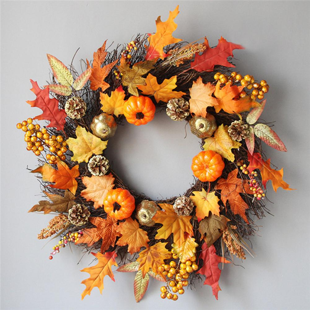60cm Halloween Thanksgiving Maple Wreath Door Hanging Halloween Vine Ornaments Halloween Berry Vine