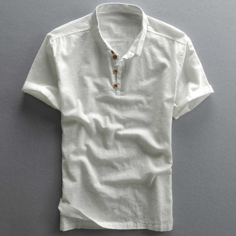شحن مجاني الصيف قميص كتان رجل Dad أبي الصينية قميص رجالي المتضخم قمصان قصيرة الأكمام الملابس مصمم الأوروبي A736
