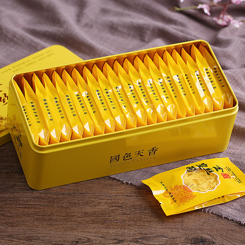 Jiangxi Xiushui golden silk chrysanthemum tea wholesale a cup of Dahuang chrysanthemum health tea gift box set 20 packets in box 3