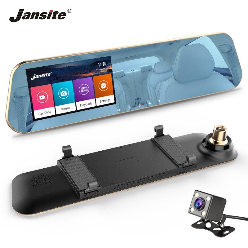 Jmcq touchscreen carro dvr fhd câmeras duplas retrovisor espelho da câmera do carro dashcam registro registrador automático cobertura g-sensor