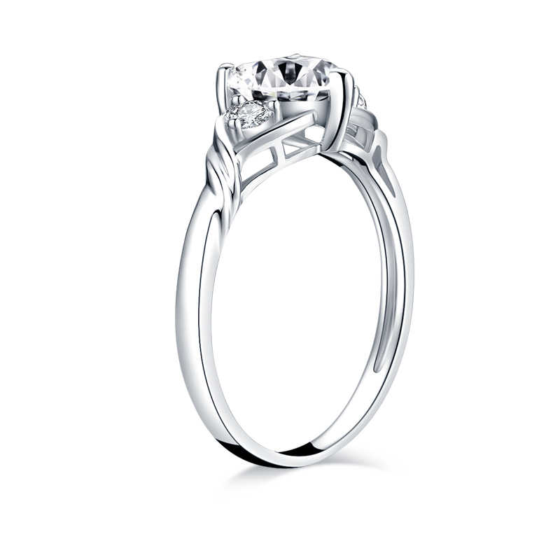 AINUOSHI 925 เงินสเตอร์ลิงหัวใจหมั้นแหวน Sona จำลองเพชรสามหินแหวน