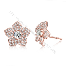 Rose gold plated Flower CZ Stud round dia-mond Gift for Girlfriend Flower Stud Earrings Sparkly Stud Earrings CZ Post Studs