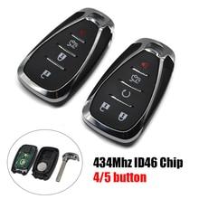 C0200 스마트 키 fob 433Mhz 4/5 버튼 HYQ4EA (시보레 크루즈 용 비상 키 ID46 칩 포함) Malibu Spark Camaro