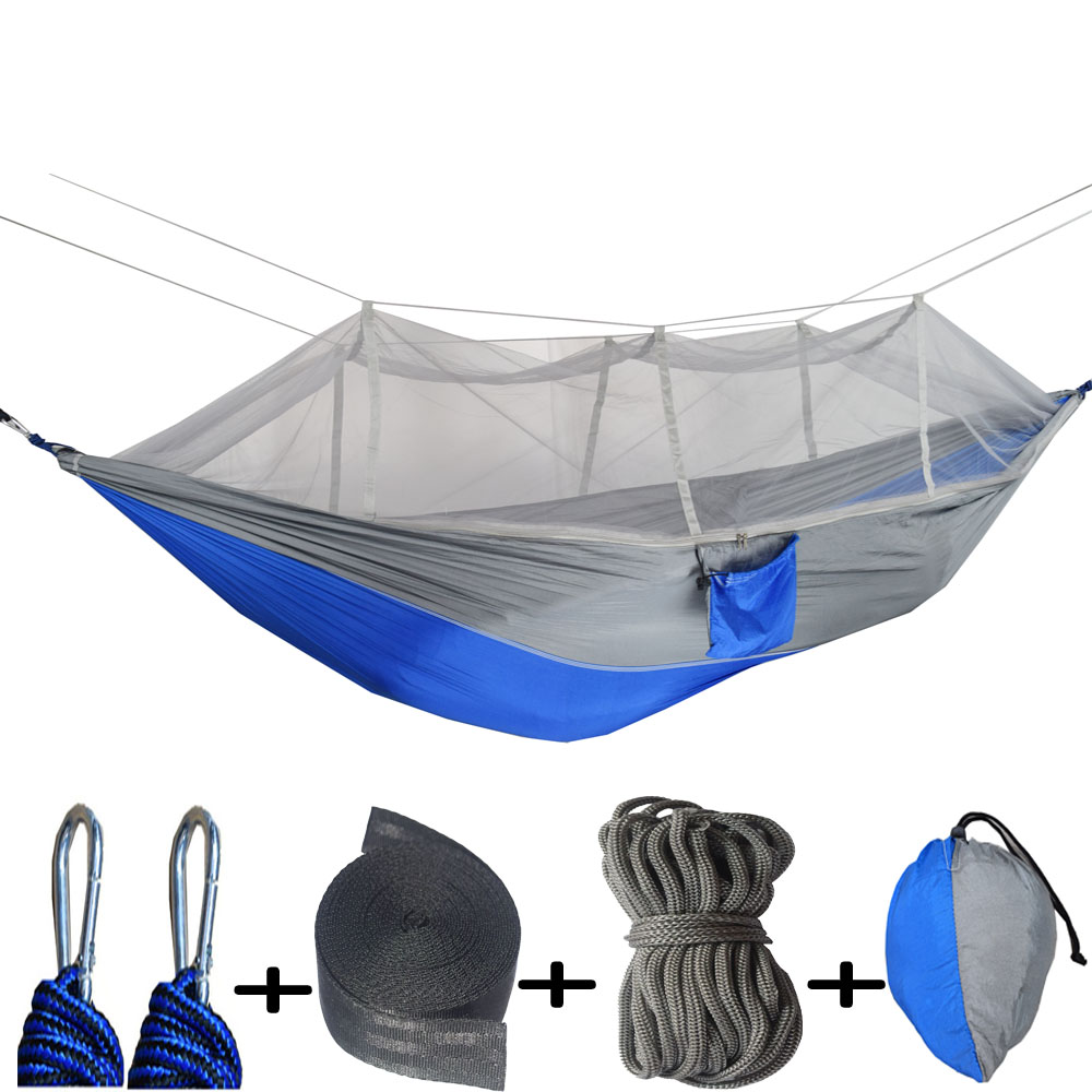 260*140CM Camouflage Ultralight Outdoor Camping Hunting Mosquito Net Parachute Hammock 1 Person    Garden   Hamac
