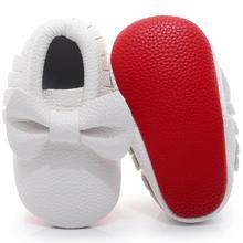 Baby Moccasins Shoes Non-Slip Newborn Baby-Boy-Girl Footwear Bebe-Fringe Soft-Soled Red
